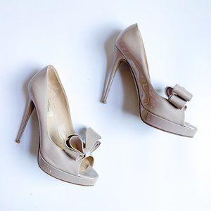 Valentino Patent Leather Bow Peep Toe Heels
